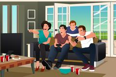 Teenagers Playing Video Game - stock illustration