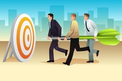 Businessmen Aiming a Dart on the Target Stock Illustration