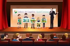 Kids Receiving Award in Art Competition Stock Illustration