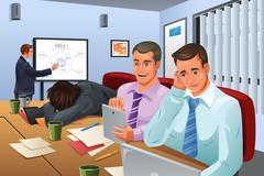 Boring Business Meeting Stock Illustration