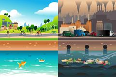 Healthy City Versus Polluted City - stock illustration