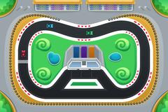 Car Racing Game Viewed from Above - stock illustration