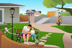 Father Son Playing with Birds Stock Illustration