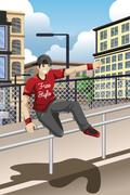 Parkour Athlete Jumping Over a Handrail - stock illustration