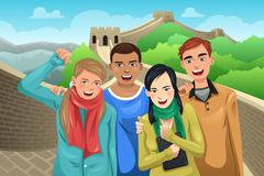 Tourists Posing in Great Wall of China - stock illustration