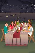 People Having Dinner Outdoor - stock illustration