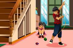 Kids Playing Spinning Top Stock Illustration