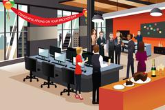 Businesspeople Celebrating their Colleague Promotion - stock illustration