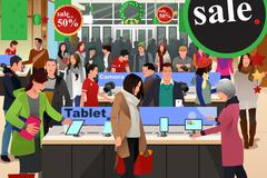 People Shopping on Black Friday - stock illustration