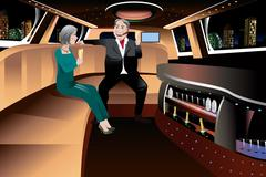 Retired Couple in a Limousine Piirros