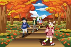 Kids Hiking in the Fall Season Stock Illustration