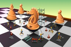 Workers Building a Knight Chess on the Chessboard - stock illustration