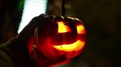 pumpkin jack o lantern halloween night - stock footage