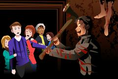 People Inside Scary House at Theme Park - stock illustration