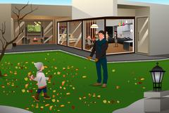 Father Son Playing Football on Thanksgiving Stock Illustration