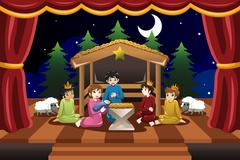 Kids Playing in Christmas Drama Stock Illustration