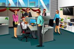 Business People Exchanging Christmas Gift Stock Illustration