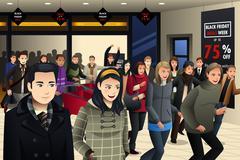 People Shopping on Black Friday Stock Illustration