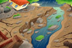 Monsoon Rain Resulting in Flood and Mudslide - stock illustration