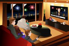 Stock Illustration of Family Spending Time Together on New Year Eve