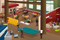 Modern Office Scene - stock illustration