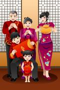 Family Celebrating Chinese New Year - stock illustration