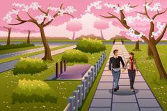 Couple Walking During Cherry Blossom - stock illustration
