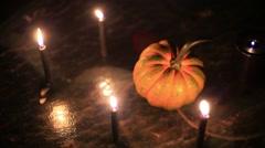 samhain pumpkin squash halloween spooky ritual 3 - stock footage