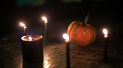 samhain pumpkin squash halloween spooky ritual - stock footage