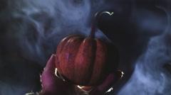 spooky mini pumpkin halloween samhain - stock footage