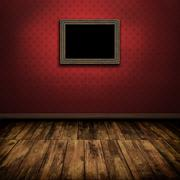 Dark vintage room with wooden floor and old frame on the wall Stock Illustration