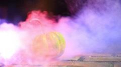 Fog with pumpkin halloween Stock Footage
