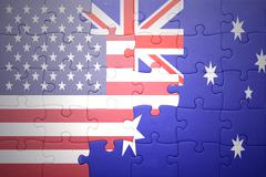 Stock Photo of puzzle with the national flag of united states of america and australia