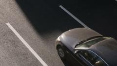 Cars drove under the bridge, top view Stock Footage