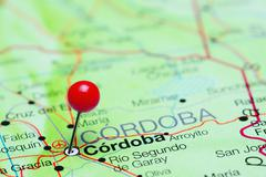Stock Photo of Cordoba pinned on a map of Argentina