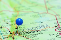 Cordoba pinned on a map of Argentina - stock photo
