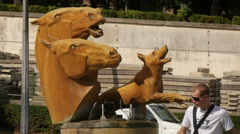 Bronze animal sculptures at Trocadero Gardens in Paris Stock Footage