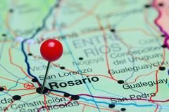Rosario pinned on a map of Argentina Stock Photos