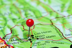 Mendoza pinned on a map of Argentina Stock Photos