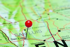 San Luis pinned on a map of Argentina - stock photo