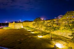Fortified wall surrounding the historic center, Cartagena, Colombia - stock photo