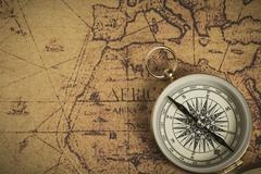 Compass on a map Stock Photos