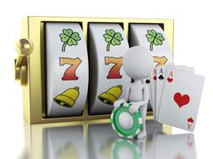 3d White person with slot machine, dice and playing Cards. Stock Illustration