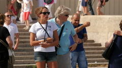 Taking pictures and visiting the Trocadero Gardens on a sunny day, Paris Stock Footage