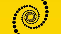 hypnotic spiral of circles yellow background loop - stock footage