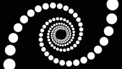 Hypnotic spiral of circles black and white loop Stock Footage