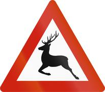 Norwegian road warning sign - Reindeer crossing - stock illustration