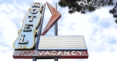 Vintage Neon Motel Sign No Vacancy Day Time 4K Stock Footage