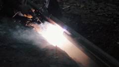 Electric welding repair rails. Stock Footage