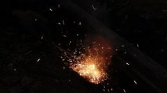 Electric welding repair rails Stock Footage